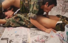 Dirty Asian twinks blowing each other's cocks in the military