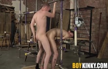 Cute boy gets tied and fucked