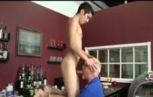 Nasty grandpa helps boy cum